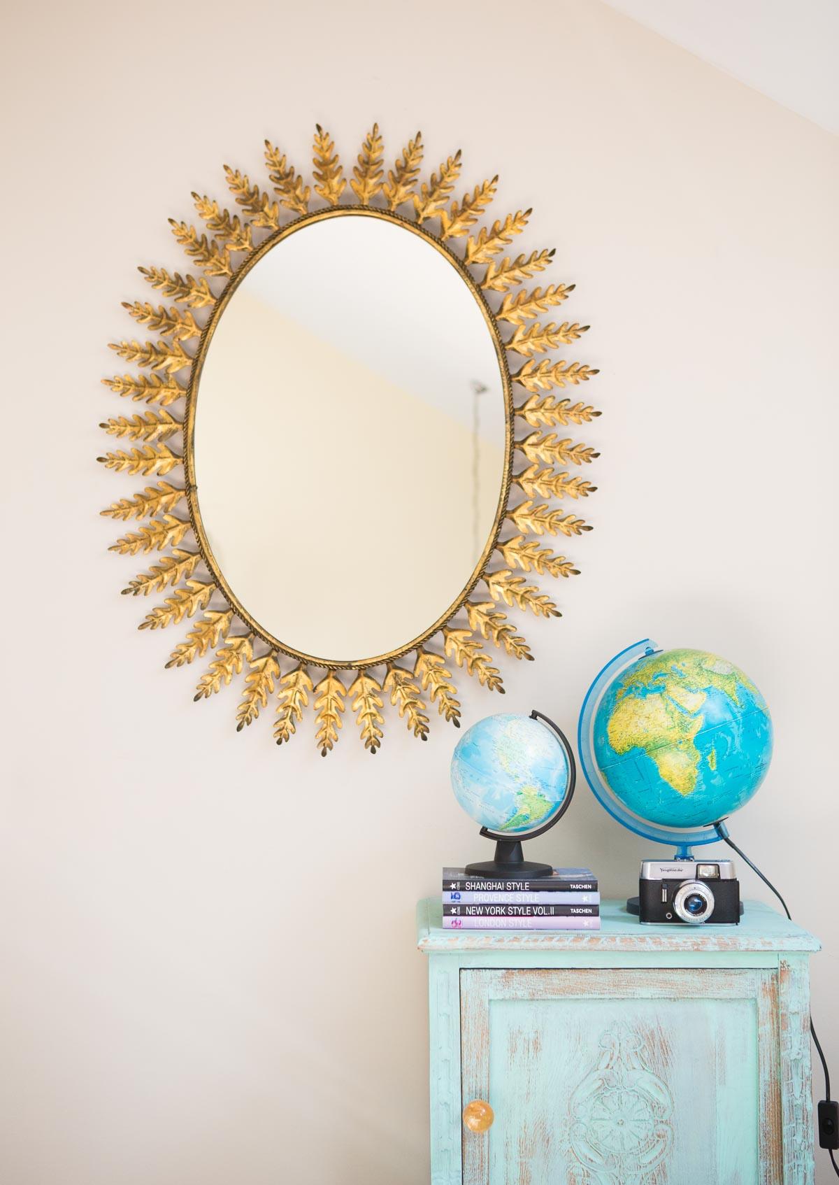 Gran espejo ovalado hojas metal 96 cm vintage and chic - Espejo veneciano antiguo ...