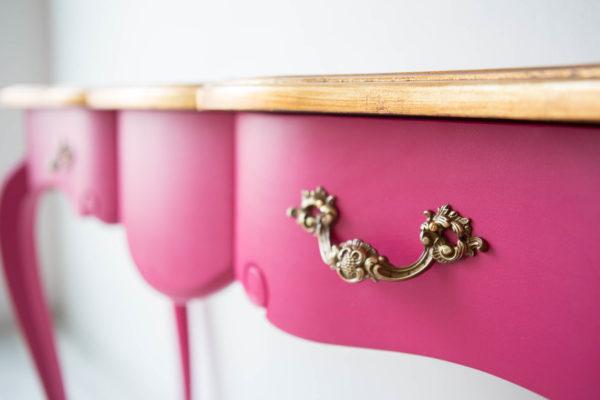 consola tocador rosa fucsia y dorado 3 cajones-104