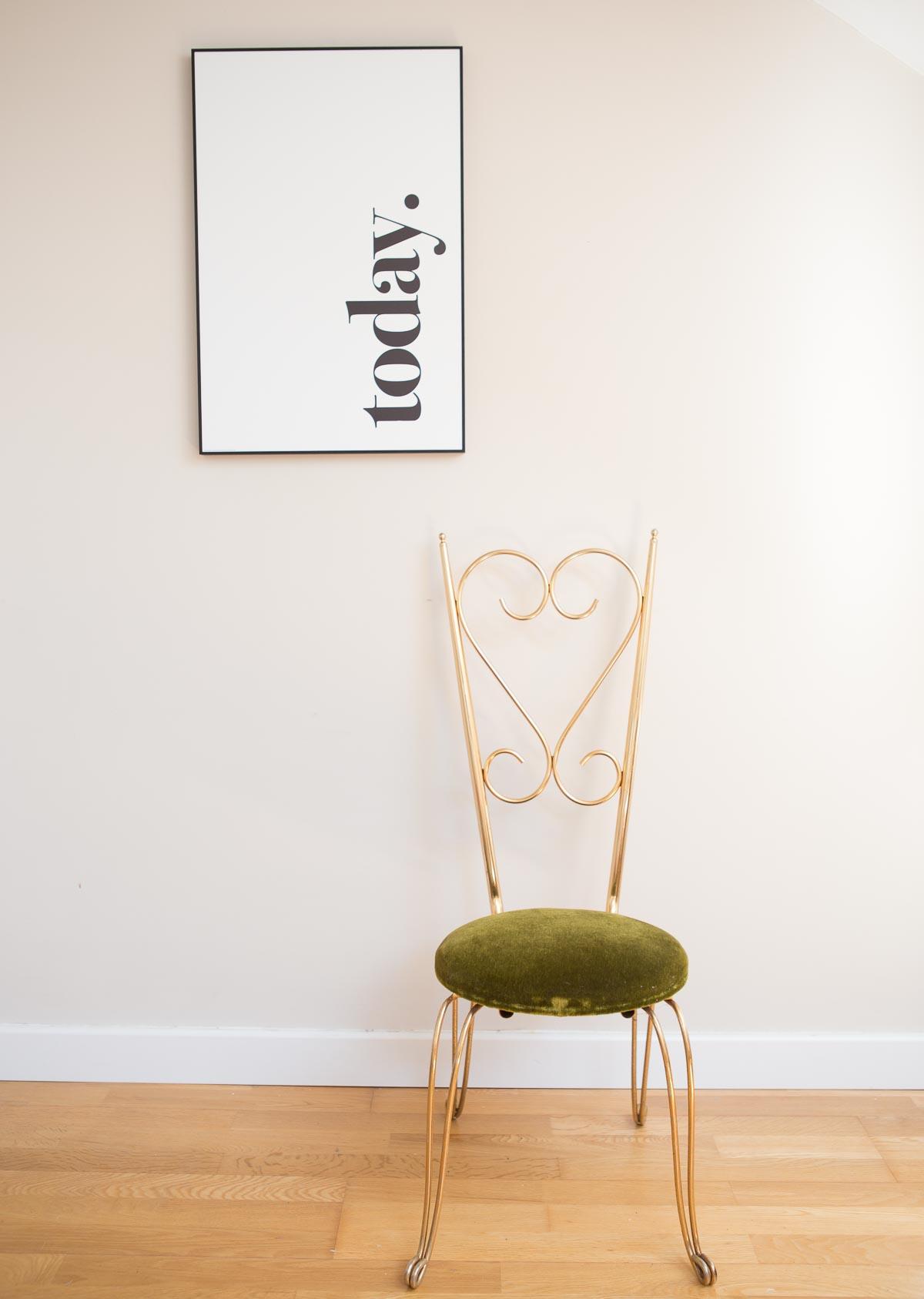 Silla metal dorado a os 50 60 chaise metal dor ann es - Sillas anos 60 ...